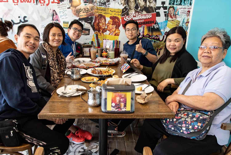 Family having Arabic food brunch at Yafa Cafe
