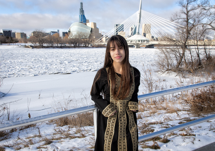 Haneen at the Forks in traditional Palestinian dress