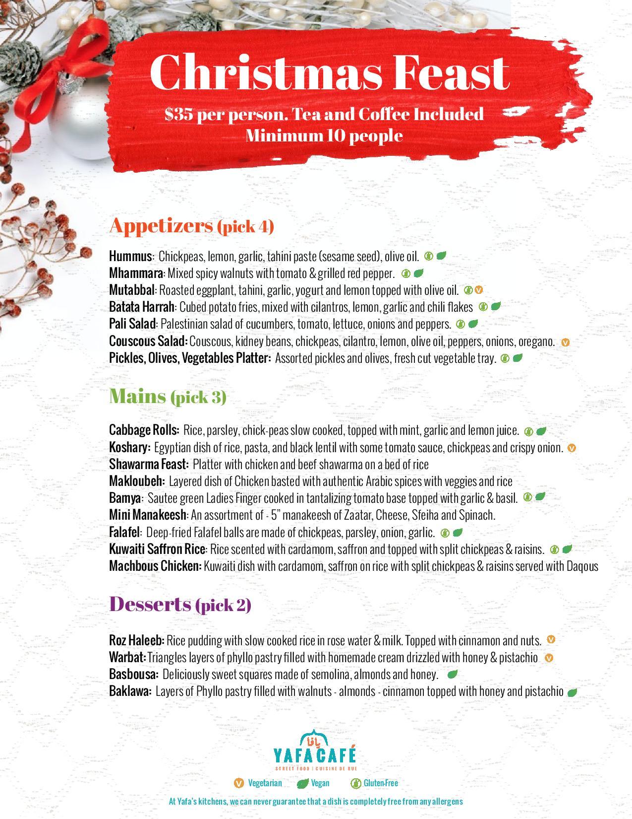 Yafa Café Christmas Season Catering