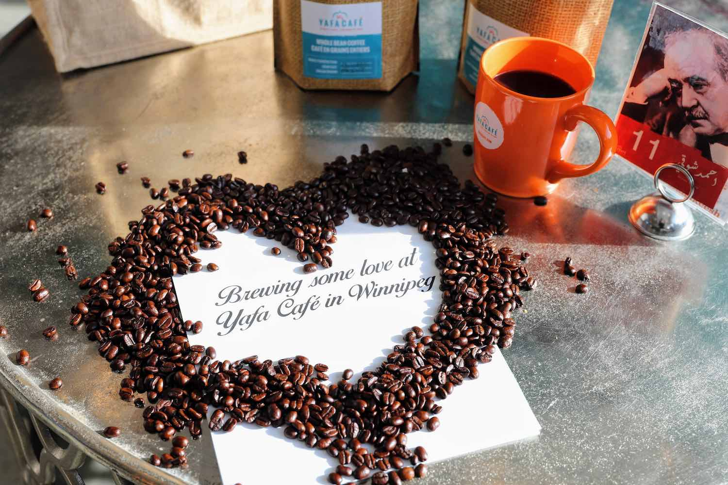 Valentine's Day coffee beans heart